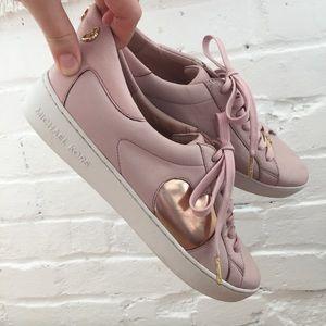 Michael Kors rose gold Keaton leather sneakers 9